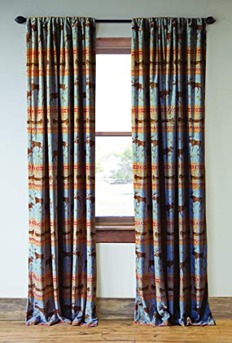 Carstens, Inc Carstens Moose Tracks Rustic Cabin (Set of 2) Curtain Panels, Blue
