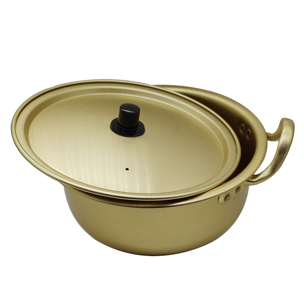 + Gold Chopsticks and Gold Spoon 14cm 1 Pairs Korean Noodle Pot Two-Handed Yellow Aluminum Pot 5.5in