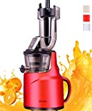 JIARUI Big Mouth Slow Masticating Juicer with Quite Motor Vertical Cold Press Juicer, Fruits & Vegetable Juice Extractor (240W AC Motor, 45RPM, BPA Free) (Red)