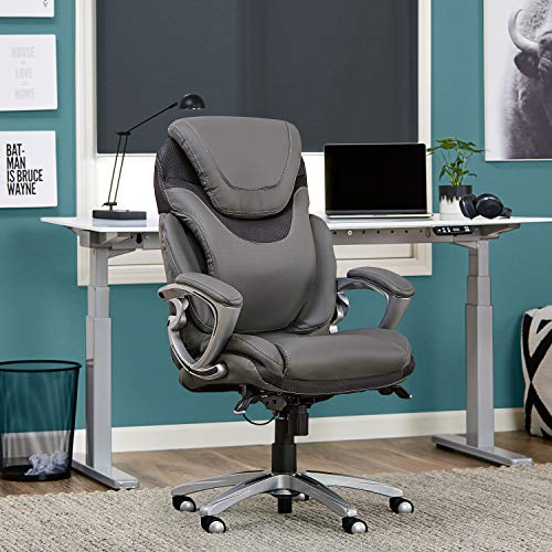 Serta 43807 Air Health and Wellness Executive Office Chair, Light Grey, Gray (Best Computer Chair For Long Hours)