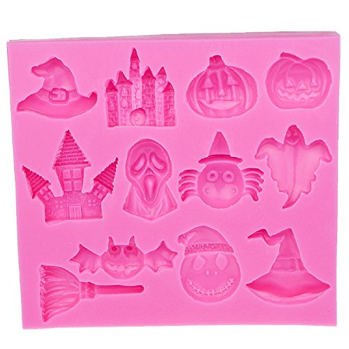 JUIOKK Hot Selling Halloween Pumpkin Witch Hat Castle Bat Broom Silicone Mold Fondant DIY Cake Decorating Tools ()