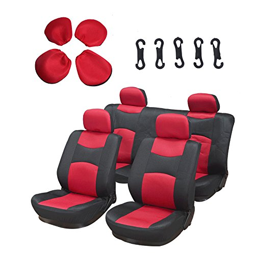 - Seat Cover cciyu Universal Car Seat Cushion w/Headrest - 100% Breathable Washable Automotive Seat Covers Replacement Replacement fit for Most Cars (Red on Black)