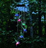 Color-Changing Solar Wind Chimes LED Solar Multi-color Solar Hummingbird Mobile Night Outdoor Light
