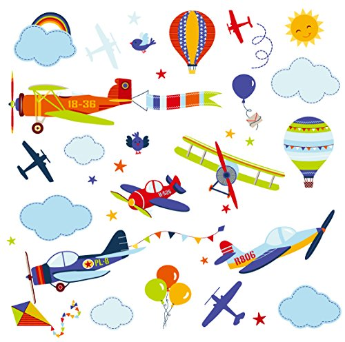 Airplanes Nursery Nursery/Boys Room Peel & Stick Wall Art Sticker Decals ()