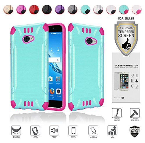 for Huawei Ascend XT2 Case with Full Glass Screen Protector (2nd Version Only), Elate 4G Case, H1711 Case, Metallic Brushed Design Slim Hybrid [Shockproof] Armor Defender Case Cover (Teal/Hot Pink)