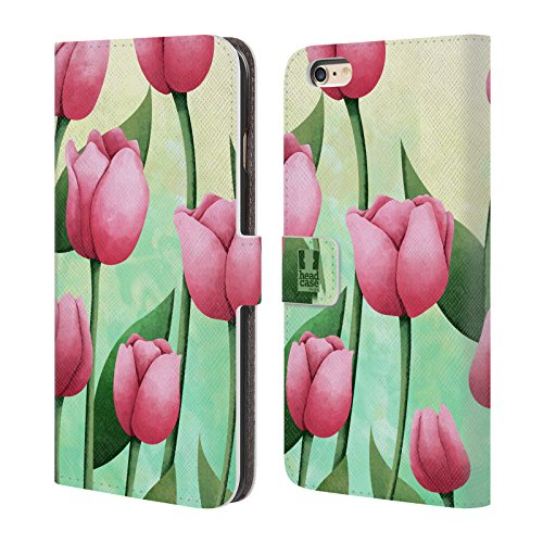 Head Case Designs Tulips Organic Florals Leather Book Wallet Case Cover For Apple iPhone 6 Plus / 6s (Leather Tulip)