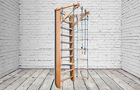 Madera maciza - haya. ¡Construcción robusta! Zona de juegos de madera para interior BB-02-220 Escalera sueca Complejo deportivo de gimnasia: Amazon.es: Deportes y aire libre