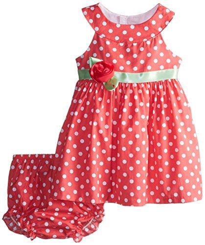 Rare Editions Baby Girls Coral Polka Dot Dress Set (3m-24m) (24 months)