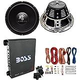 2) HIFONICS HFX12D4 12 1600W Car Audio DVC Subwoofers +Mono Amplifier+Amp Kit