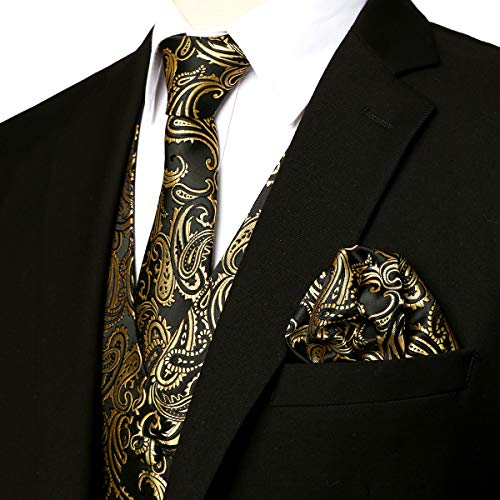 ZEROYAA Men's Classic 3pc Paisley Jacquard Vest Set Necktie Pocket Square Set for Suit or Tuxedo ZLSV14 Gold Black XX-Large