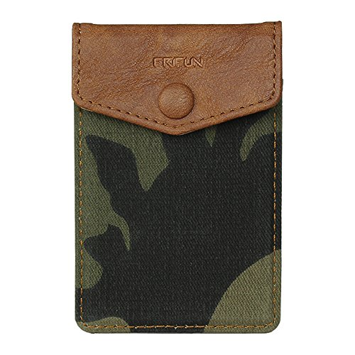 FRIFUN Cell Phone Wallet Ultra-slim Self Adhesive Credit Card Holder Stick on Wallet Cell Phone Leather Wallet For Smartphones Sleeve Covers Credit Cards (Camouflage)
