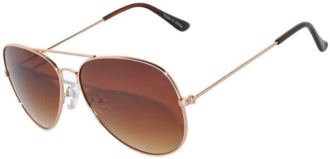 Amazon.com: Metal Classic Aviator anteojos de sol en oro ...