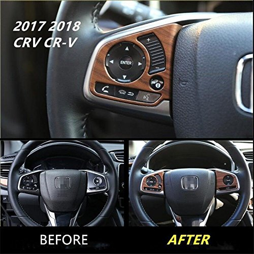 Flash2ning for Honda CRV CR-V 2017-2019 3P Peach Wood Grain Steering Wheel Cover Decor Trim