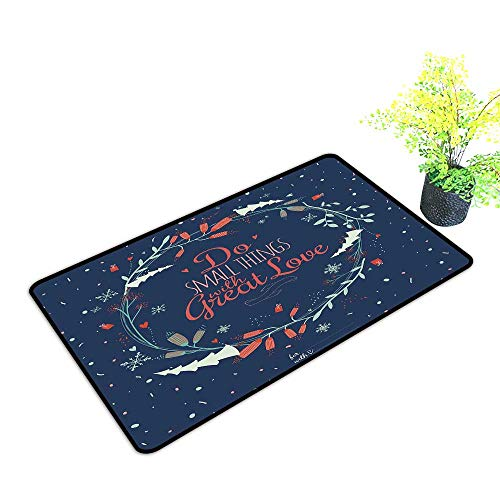 Diycon Front Door Mat Large Outdoor Indoor Quote Romantic Floral Wreath with Laurel Leaves Loving Wishes Calligraphy Vintage W35 xL59 Durable Navy Mint Green Red