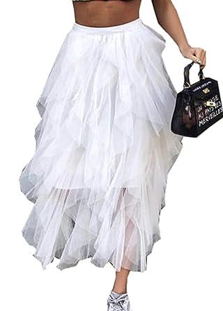 mBeauty GO - Falda de Tul asimétrica para Mujer Blanco XL: Amazon ...