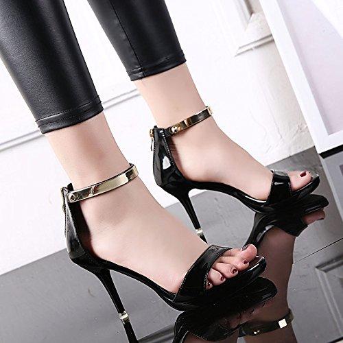 De Fino Noche SHOESHAOGE Fino Zapatos De Impermeable Una Sandalias Ranurado Alto Tacón Video con Negro EU38 Mujer Eu40 qpqwOSzx4