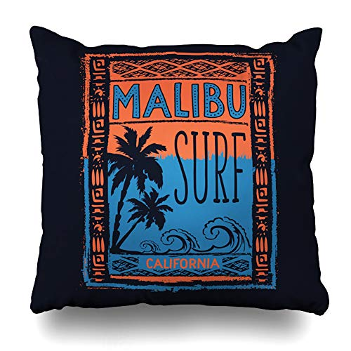 Ahawoso Throw Pillow Cover Square 18x18 Inches Summer Beach Surf Sport Malibu Tee Recreation Graphic Vintage Label Angeles Badge Board California Zippered Cushion Pillow Case Home Decor Pillowcase