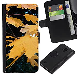 LASTONE PHONE CASE / Lujo Billetera de Cuero Caso del tirón Titular de la tarjeta Flip Carcasa Funda para Samsung Galaxy S4 IV I9500 / Fall Autumn Yellow Rain Tree Nature