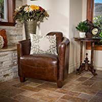 Christopher Knight Home 238563 Elle Leather Club Chair, Brown