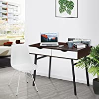 LANGRIA Computer Desk Gaming Table PC Laptop Workstation with 2 Spacious Drawers and Storage Compartments Cable Declutter for Study Simple Home Office Furniture 39''x 23''x 29.5 (Black Walnut & White) from LANGRIA