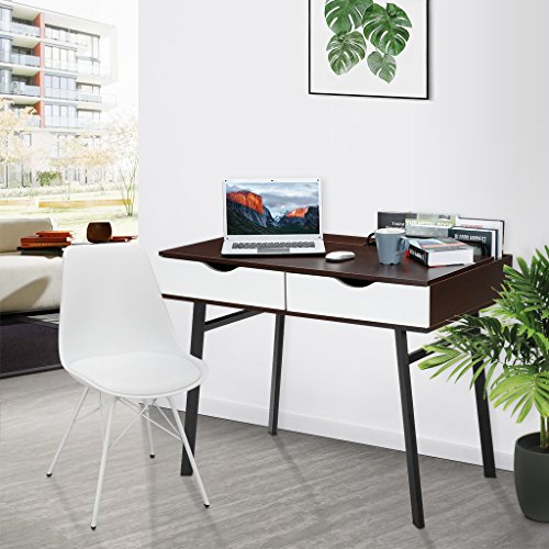 Office Console Table (LANGRIA Modern Computer Desk with Drawers Computer Table, Home Desk Black Desk Laptop Table Notebook Desk Study Workstation (39 x 23 x 29.5 in, Black Walnut&White))