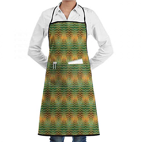 EMODFJCXZ Sewing Apron Abstract Geometric Repeating Pattern Big Little Polka Dots Optical Design Print Soft Texture W20 x L28 Marigold Green ()
