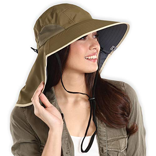 3e01981c98f ... Men   Women - Wide Brim Fishing Hat with Neck Flap for Sunburn   UV  Protection - Bucket Hat for Hiking