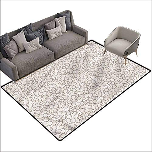 Soft Area Rug for Children Baby Contemporary,Vintage Foliage Petals 48