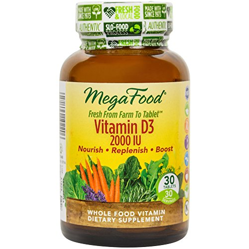 MegaFood Vitamin D 3 2000 IU, Promotes Healthy Immune Function & Overall Well being, 30 Tablets