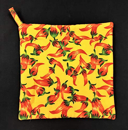 (Chili Hot Peppers on Yellow Square Pot Holder 8-1/2
