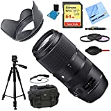 Sigma 100-400mm F5-6.3 DG OS HSM Telephoto Lens (Nikon) Deluxe Accessory Bundle includes Lens, 64GB SD Memory Card, Tripod, 58mm Filter Kit, Lens Hood, Bag, Cleaning Kit, Beach Camera Cloth & More