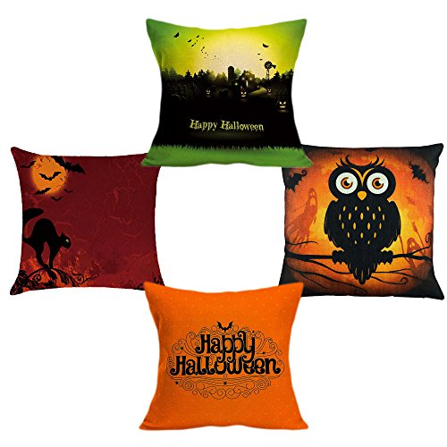 (4Pk Halloween Throw Pillow Cover Boo Pillow Case Cushion Cover Trick or Treat Fall Pillowcase Cover Sofa Square Pillowcase Holiday Thanksgiving Christmas Gifts)