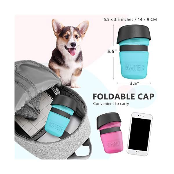 lesotc Pet Water Bottle for Dogs, Dog Water Bottle Foldable, Dog Travel Water Bottle, Dog Water Dispenser, Lightweight & Convenient for Travel BPA Free 7