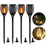 DIKAIDA 4 Pack Solar Torch Lights, Waterproof Flickering Flame Solar Torches Dancing Flames Landscape Decoration Lighting Dusk to Dawn Outdoor Security Path Light for Garden Patio Deck Yard Driveway