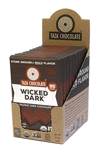 Taza Chocolate | Amaze Bar | Wicked Dark | 95% Stone Ground | Certified Organic | Non-GMO | 2.5 Ounce (10 Count) made in New England