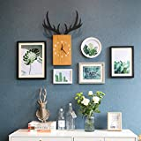ALUS- 5 Multi Photo Frames Set Modern Minimalist Nordic Style Creative Wood Dining Room Bedroom Wall Photo Picture Wall Frame ( Color : #1 )
