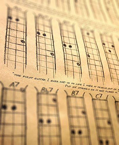 C. B. Gitty Chords Poster for 3-String Cigar Box Guitars - All The Most Popular Chords for Open G GDG Tuning