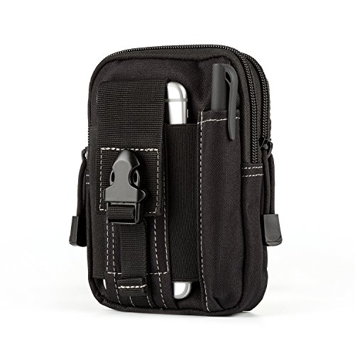 Carlebben Tactical Molle Pouch Compact Edc Utility Gadget Waist Bag Pack Universal Multipurpose Security Pack With Cell Phone Holster  Blak
