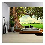 wall26 - Spring Meadow with Big Tree with Fresh Green Leaves - Removable Wall Mural   Self-Adhesive Large Wallpaper - 100x144 inches