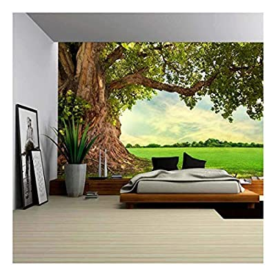 Spring Meadow with Big Tree with Fresh Green Leaves - Removable Wall Mural | Self-Adhesive Large Wallpaper - 66x96 inches