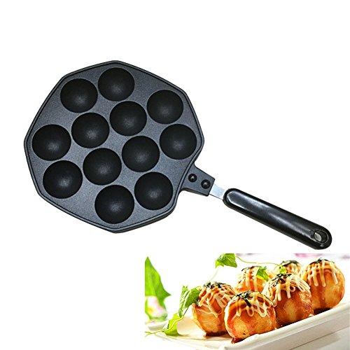 Takoyaki Pan, Keeper Nonstick Cast Aluminum Alloy Baking Tray Takoyaki Maker, 12 Holes
