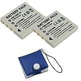 BIRUGEAR 2 x Kodak KLIC-7005 / Pentax D-LI8 Compact Battery + Memory Card Case for Kodak EasyShare C763; Pentax Optio A10, A20, A30, A40, S4i, S5i, S5n, S5z, S6, S7, SV, T10, T20, W10, W20, WP, WPi Digital Camera