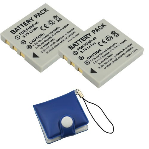 BIRUGEAR 2 x Kodak KLIC-7005 / Pentax D-LI8 Compact Battery + Memory Card Case for Kodak EasyShare C763; Pentax Optio A10, A20, A30, A40, S4i, S5i, S5n, S5z, S6, S7, SV, T10, T20, W10, W20, WP, WPi Digital Camera by GTMax