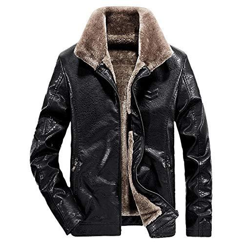 WOCACHI Final Clear Out Mens PU Leather Jacket Thicken Lapel Zipper Coat Plus Velvet Windbreaker Black Friday Cyber Monday Autumn Winter Long Sleeve Sweater Tops (Black, XXX-Large)
