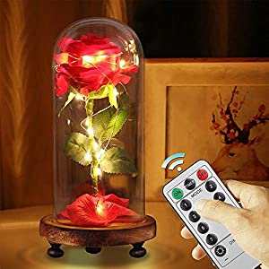 Beauty and The Beast Rose Kit, Red Silk Rose and Led Light with Fallen Petals in Glass Dome on Wooden Base for Home Decor Holiday Party Wedding Anniversary 55