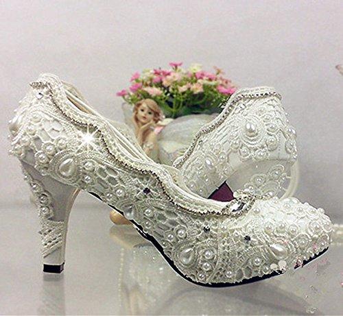 JINGXINSTORE Spitze Schuhe weiß elfenbein Kristall Hochzeit Schuhe Spitze Braut Wohnungen Niedrig High Heel Pump Größe 5-12 4 cm / 1.5inch; heel,iovry 9c30aa