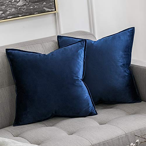 MIULEE Pack of 2 Decorative Velvet Throw Pillow Cover Soft Dark Blue Pillow Cover Soild Square Cushion Case for Sofa Bedroom Car 18x 18 Inch 45x 45cm (Blue Pillow Fur)