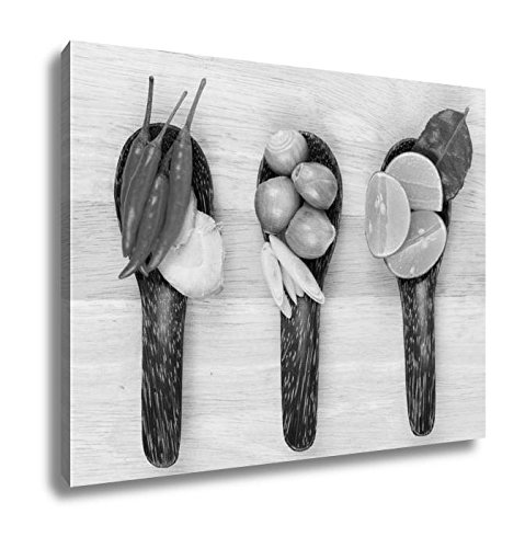 Ashley Canvas Spicy Thai Food Ingredients, Kitchen Bedroom Living Room Art, Black/White 24x30, AG5768146 by Ashley Canvas