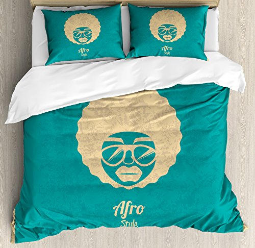 Afro Duvet Cover Set Queen Size by Lunarable, Silhouette of a Woman with Glasses Vintage Hairstyles Black Culture Soul Rock'n Roll, Decorative 3 Piece Bedding Set with 2 Pillow Shams, - Glasses Mens Hairstyles