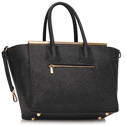 Xardi London Belinda in similpelle a perno Tote Medium Grab Handbags designer donne borse a tracolla Black/White